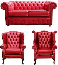 Warrensburg Chesterfield 3 Piece Leather Sofa Set