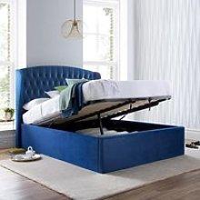 Warwick Blue Velvet Fabric Ottoman Bed Frame -