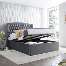 Warwick Grey Velvet Fabric Ottoman Bed Frame -
