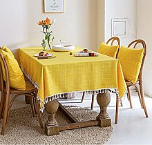 Washable Cotton Linen yellow Table Cloth,