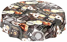 Washable Oilcloth Round Table Cloth with Coffee