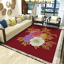 Washable Rug Small Rug Red White Stereo Floral