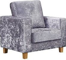 Wasp Crushed Velvet 1 Seater Sofa In Silver