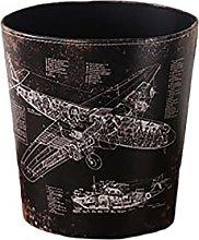 Waste Bin Retro PU Leather Paper Bin Basket
