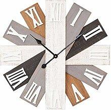 Watching Clocks Large Fan Wooden Plank Style Wall