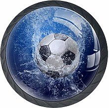 Water Around Soccer Ball Blue Football Drawer