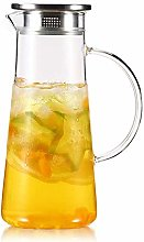 Water jug Glass, Pitcher with lid iced and Handle