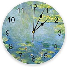 Water Lotus Ink Painting Wall Clock Home Decor