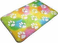 Watercolor Animal Footprint Bath Mat Microfiber