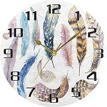 Watercolor Bird Feather Wall Clock Silent Non