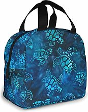 Watercolor Blue Sea Turtle Insulated Lunch Bag