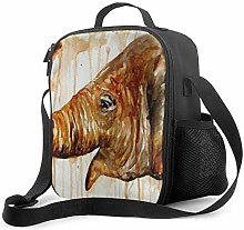 Watercolor Brown Elephant Pattern Lunch Bag