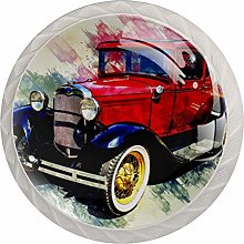 Watercolor Car Red White Crystal Drawer Handles