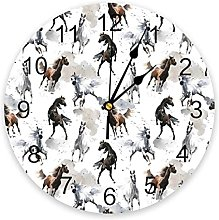 Watercolor Chinese Style Horse Wall Clock Bedroom