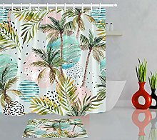 Watercolor coconut palm leaves High-definition