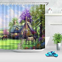 Watercolor cottage flowers on green meadow horse