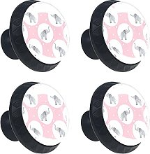 Watercolor Elephant Baby 4PCS Cabinet Knobs, Round