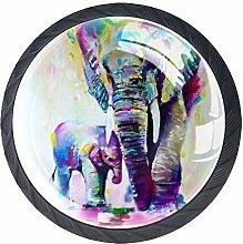 Watercolor Elephant Crystal Door Knobs Glass