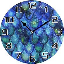 Watercolor Fish Scales Mermaid Wall Clock Silent