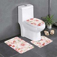 Watercolor Flower Bathroom Rugs Set 3 Piece Soft