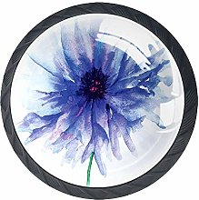 Watercolor Flower Drawer Pulls Handle, Single