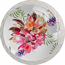 Watercolor Flowers and Leaves 4pcs Glass Cupboard