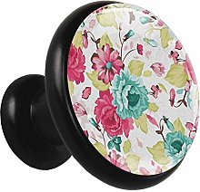Watercolor Flowers Cabinet knobs Black 4 knobs for