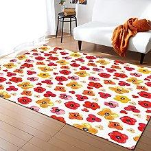 Watercolor Flowers Carpet for Bedroom Modern Home
