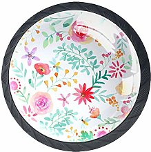 Watercolor Flowers Round Knob Metal Cabinet