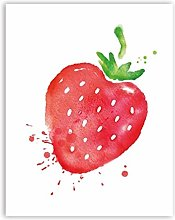 Watercolor Fruit Strawberry Canvas Art Print Wall