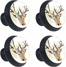 Watercolor Painting Reindeer Floral 4PCS Round