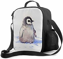Watercolor Penguin Pattern Lunch Bag Insulated