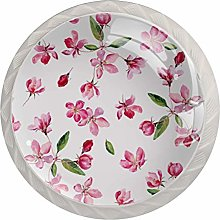 Watercolor Pink Flowers 4 Pieces Crystal Glass