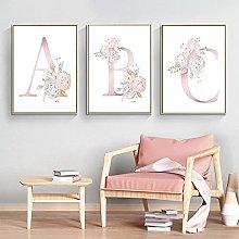 Watercolor Pink Flowers Baby Canvas Nursery Art