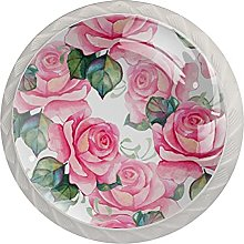 Watercolor Pink Roses 4PCS Round Shape Cabinet
