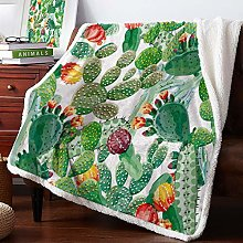 Watercolor Plant Cactus Velvet Home Sofa Watching