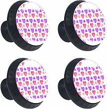 Watercolor Purple Pink Love Hearts Pattern Cabinet