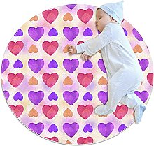 Watercolor Purple Pink Love Hearts Pattern