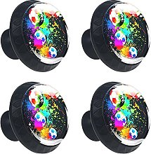 Watercolor Soccer Sports Ball 4PCS Cabinet Knobs,