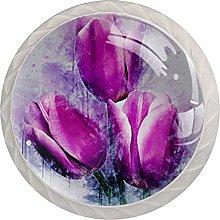 Watercolor Tulip Purple 4 Pieces Crystal Glass