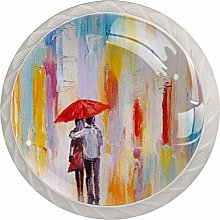 Watercolor Walk in The Rain Colorful Crystal Glass