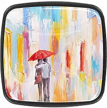 Watercolor Walk in The Rain Dresser Crystal Knobs