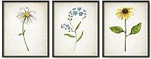Watercolor Wildflower Art Print Set of 3 Botanical