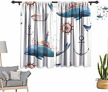 Watercolor Window Curtains, Creative Whale Pattern