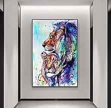 Watercolored Art Painting Animal Tiger Canvas