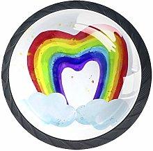 Watercolorrainbow 4PCS Round Drawer Knob Pull