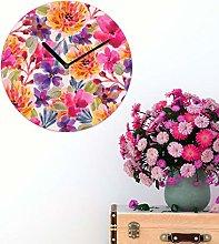 Watercolour Floral MDF Wall Clock 30cm Colourful