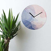 Watercolour MDF Wall Clock 30cm Blush And Navy