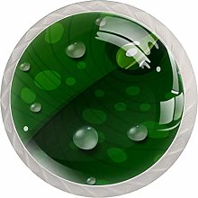 Waterdrops Green Leaf 4 Pieces Crystal Glass