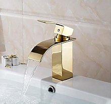 Waterfall Gold Bathroom wash Basin Faucet/Modern
